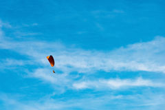 Man ride Paramotor flying in the sky Stock Images
