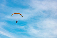 Man ride Paramotor flying in the sky Stock Photo