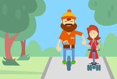 Man Ride Segway Woman Holding Hands Electric Scooter Stock Photos