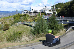 Man ride on Skyline Rotorua Luge Royalty Free Stock Images