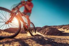 Man rides bicycle stock image