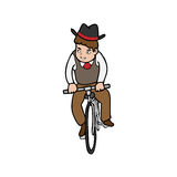 Man rides bicycle Stock Photo