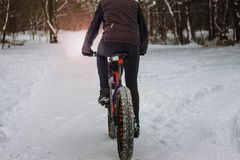 A man rides a bicycle in the winter in the snow. royalty free stock image