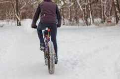 A man rides a bicycle in the winter in the snow. stock photos