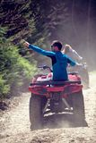 Man riding atv vehicle on off road track ,people outdoor sport activitiies theme Royalty Free Stock Photos
