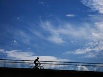 Man riding bicycle along downward path royalty free stock photography