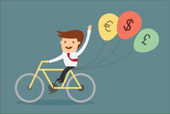 Man riding bicycle with balloon money sign concept of financial Royalty Free Stock Photography