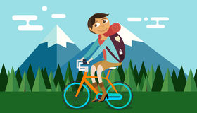 Man riding bicycle bike in nature mountain forest background vector illustration Royalty Free Stock Photography