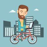 Man riding bicycle in the city vector illustration Royalty Free Stock Image