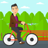Man riding bicycle. Royalty Free Stock Images