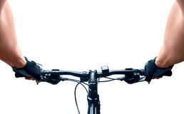 Man riding on a bicycle isolated Royalty Free Stock Image