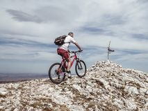 Man Riding Bicycle on Off-road royalty free stock photo