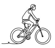 Man riding a bicycle outside. Concentrated young guy using his bike in the courtyard. Continuous line drawing. Isolated. On the white background. Vector royalty free illustration