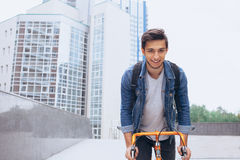 Man riding a bicycle outside Royalty Free Stock Photo