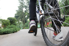 A man riding a bicycle in the park. A cyclist rides forward on road. Sports life. A man riding a bicycle in the park. Picture taken at the level of the wheels Stock Photography