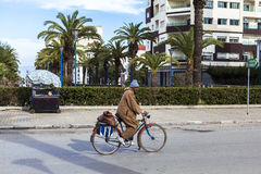 Man riding bicycle on street of Meknes, Morocco Stock Images