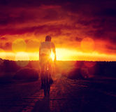 Man Riding a Bicycle at Sunset. Rear View of a Man Riding a Bicycle at Sunset. Healthy Lifestyle and Travel Concept. Dramatic Sky. Toned Photo with Bokeh. Copy Royalty Free Stock Photos