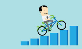 Man Riding Bicycle Up for Business Success Royalty Free Stock Images