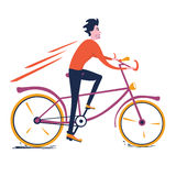 Man riding a bicycle. Vector illustration of a man riding a bicycle stock illustration