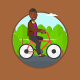 Man riding bicycle vector illustration. Stock Image