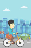 Man riding bicycle vector illustration. Royalty Free Stock Photography