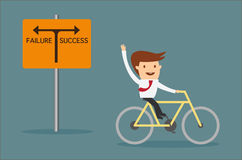 Man riding bicycle on the way to success Stock Photography