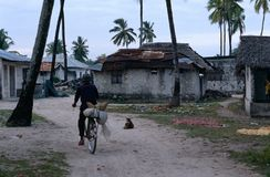 A man riding a bicycle, Zanzibar Royalty Free Stock Images