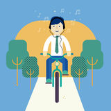 Man riding a bike. Business man riding a bike and listing music. Transit laws. Traffic rules Royalty Free Stock Photos