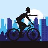 Man riding bike and city background design Stock Photos