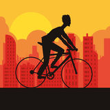 Man riding bike and city background design Royalty Free Stock Image