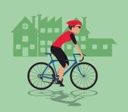 Man riding bike and city background design Stock Photo
