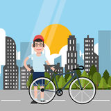 Man riding bike and city background design Royalty Free Stock Photo