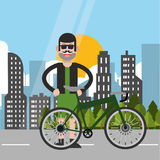 Man riding bike and city background design Royalty Free Stock Photography