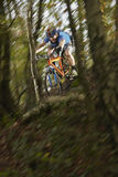 Man Riding Bike Through Forest Stock Images