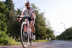 Man riding a bike Stock Photo