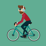 Man riding bike. Hipster character on bicycle. stock illustration