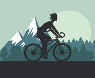 Man riding bike and mountain background design Royalty Free Stock Photography