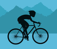 Man riding bike and mountain background design Stock Photography