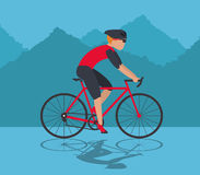 Man riding bike and mountain background design Stock Image