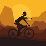Man riding bike and mountain background design Royalty Free Stock Image