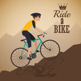 Man riding bike and mountain background design Royalty Free Stock Photos