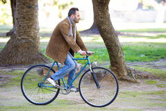 Man riding in bike. For the park royalty free stock photo