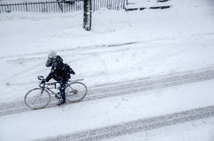 Man riding bike on Rachel Street during snow storm. Montreal, CA, 7th March 2016. Man riding bike on Rachel Street during snow storm Royalty Free Stock Photo