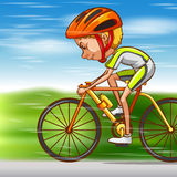 Man riding bike on the road Stock Images
