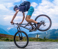 Man Riding on the Black and Gray Full Suspension Mountain Bike during Daytime Stock Photos