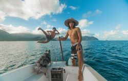 Man Riding on the Boat Royalty Free Stock Image