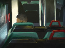Man Riding The Bus - Digital Painting. Digital painting of a man looking out the window of a bus Royalty Free Stock Photos
