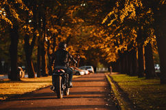 Man riding a cafe-racer motorcycle royalty free stock images