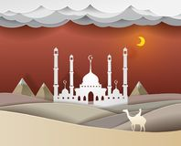 Man riding a camel in the desert at night Masjid background  vec. Tor paper art cute illustration paper cut Royalty Free Stock Images