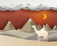 Man riding a camel in the desert at night vector paper art cute. Illustration paper cut Royalty Free Stock Image